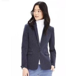 Banana Republic navy pinstripe one button blazer